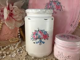 vintage glass canisters kitchen shabby chic glass jar canister painted white decoupage floral lid