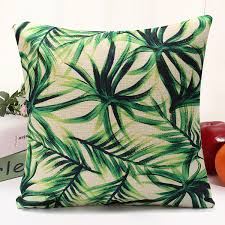 green leaf cotton linen cushion covers waist throw pillow case