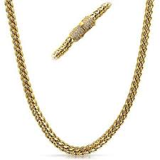 clasp gold necklace images 6mm cz diamond clasp gold steel franco chain hiphopbling jpg