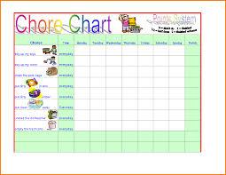 Chore Sheet Template 4 Chore Chart Template Receipt Templates