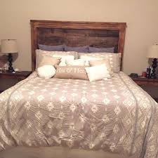 best custom built wood headboard and nightstand set stained in