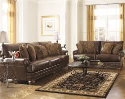 ashley leather sofa set ashley brown leather durablend antique 2pc sofa package by ashley