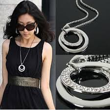 double circle long necklace images Fashion jewelry vintage crystal rhinestone chunky silver plated jpg