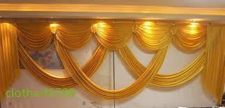 gold backdrop 6m wide swags of backdrop valance wedding stylist backdrop swags