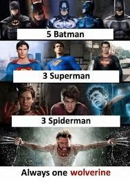 Val Kilmer Batman Meme - 5 batman 3 superman 3 spiderman always one wolverine batman meme