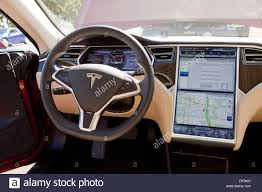 Tesla Interior Model S Tesla Model S Electric Car Interior Stock Photo Royalty Free