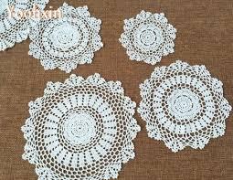 napperon de cuisine ronde dentelle coton table napperon pad tissu crochet fait