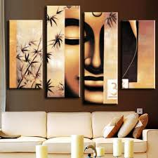 online get cheap buddha wall art aliexpress com alibaba group 4 pieces unframed oil painting on canvas printed buddha wall art picture for living room fashion home decoration