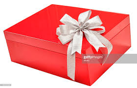 large gift bow christmas gift box with large silver bow isolated stock photo
