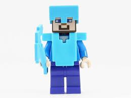 diamond steve lego minecraft minifigure steve diamond armor helmet axe 21122