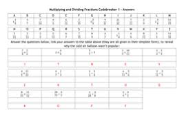 multiplying and dividing fractions codebreakers by alutwyche