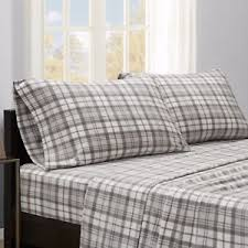Plaid Bed Set Grey Gingham Plaid Bed Sheets King Size Bedsheet Set White Pillow