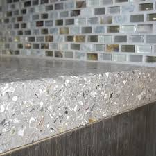 recycled glass backsplashes for kitchens kitchen concrete mixed with oyster shells countertop and a