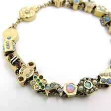 opal necklace vintage images Vintage opal multi stone yellow gold slide bracelet the jewelry box jpg