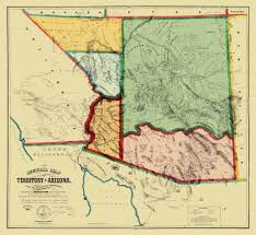 First Map Of United States by Old State Map Arizona Territory Gird 1865