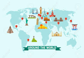 map vector travel landmarks on world map vector illustration world monuments