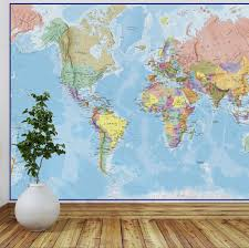 giant world map mural blue ocean by maps international giant world map mural blue ocean