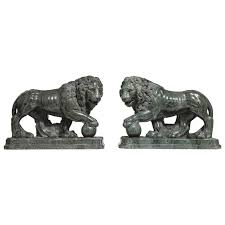 marble lions for sale pair of large verde antico marble lions with orbs by pietro simoni