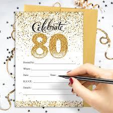 white u0026 gold 80th birthday party invitations with envelopes 25