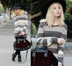fashion trends scoop neck long sleeves stripes sweater dresses