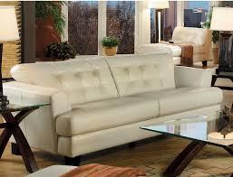 main floor avenue genuine leather sofa ivory the brick home