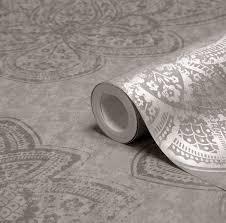 B Q Bedroom Wallpaper Graham U0026 Brown Treasure Marcasite Damask Metallic Wallpaper