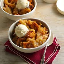 toffee pear crisp bread pudding recipe taste of home