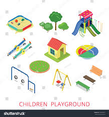 flat 3d isometric style modern children stock vector 393285697
