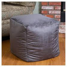 whitney faux suede bean bag cube ottoman gray christopher knight