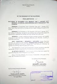 announcement 26 december 2016 and 2 january 2017 declared