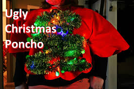 christmas tree sweater with lights light up christmas tree ugly sweater poncho
