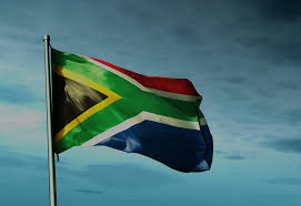 Flag Za South African Flag Waving In The Wind With Dark Blue Sky In The