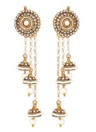 jhumka earrings jhumkas earrings moti string jhumka earrings with imitation
