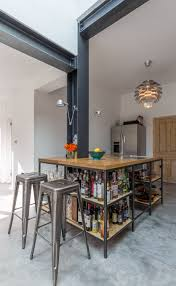 modern style industrial kitchen open shelving exposed