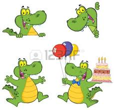 party alligator with balloons and a birthday cake royalty free