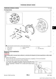 nissan altima emergency brake nissan 350z 2007 z33 parking brake system workshop manual