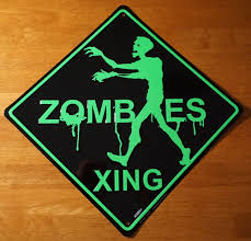 zombies crossing road street sign zombie halloween party yard home