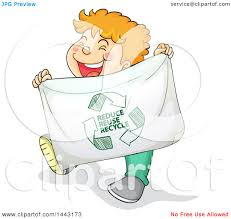 clipart of a white boy holding a reduce reuse recycle banner