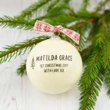 personalised baby u0027s first christmas bauble by a touch of verse