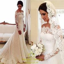 Wedding Dresses With Sleeves Uk White Lace Off The Shoulder Sheer Long Sleeve Wedding Dress With
