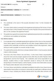 equine agistment agreement contract