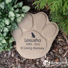 pet memorial garden stones concrete paw print large kelegant pet memorials
