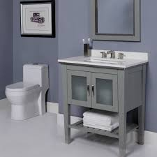 All Wood Bathroom Vanities by Decolav Briana 30 Inch Slate Finish Bathroom Vanity Solid Wood