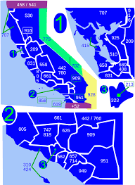 Map Of San Diego Zip Codes by List Of California Area Codes Wikipedia