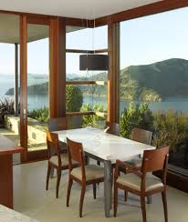 water view dining room contemporary with corner windows fabric
