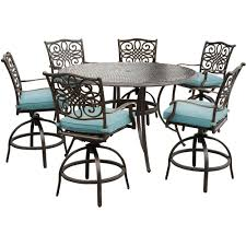 Hanover Traditions Piece Outdoor BarHeight Dining Set With - 7 piece outdoor dining set with round table