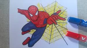 coloring spiderman shooting wep coloring pages kids
