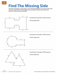 find the missing side worksheets math and geometry worksheets