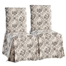 Damask Dining Room Chair Covers Damask And Stripe Dining Chair Slipcover Set Of 2 Free