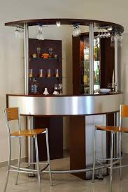 corner curved mini bar for home with hanging wine glass rack and